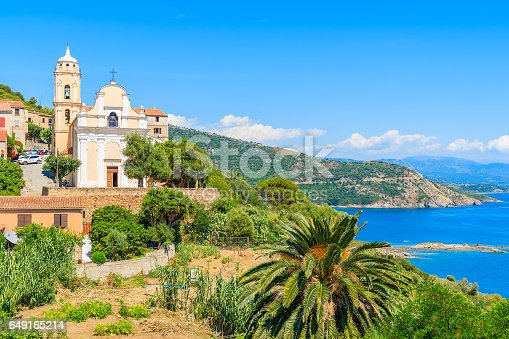 istock Typical church on coast of Corsica island in Cargese village, France 649165214