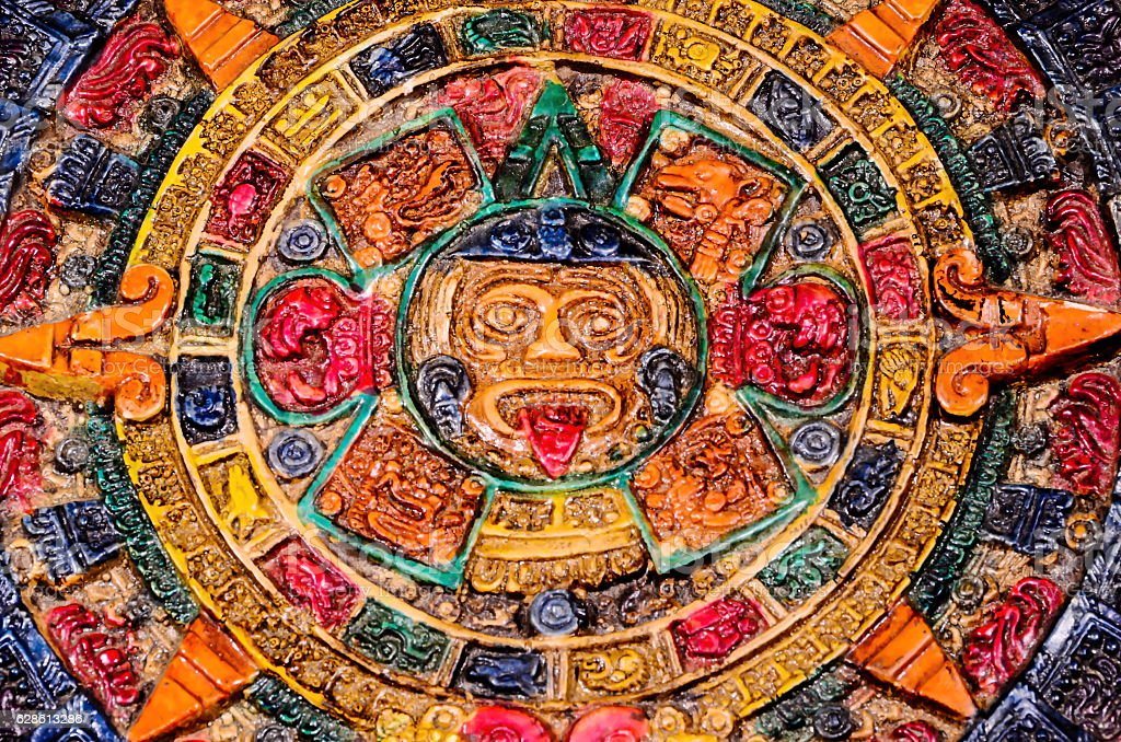 Typical Colored Clay Maya Calendar stock photo