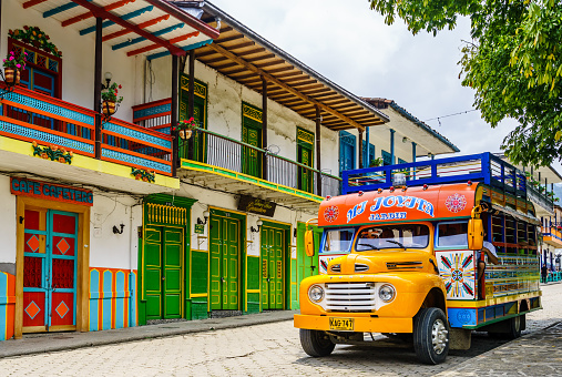 istock Typical colorful chicken bus in Jardin, Antioquia, Colombia, South America 1179653998