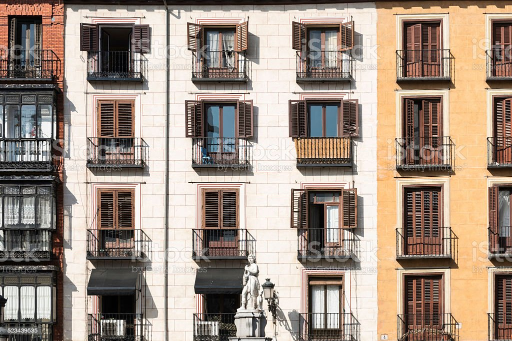 Typical colorful houses in Madrid stock photo