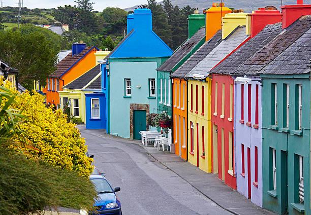 Typical colorful irish village stock photo