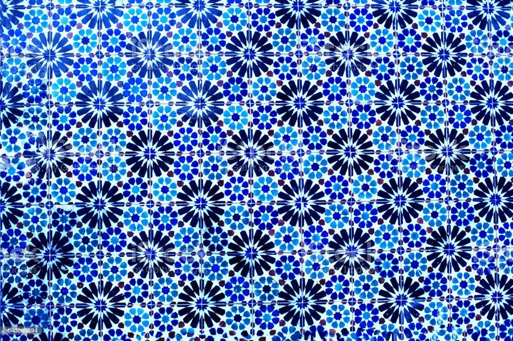 Typical colorful Moroccan, Portuguese tiles, Azulejo, ornaments - arabic wall design stock photo