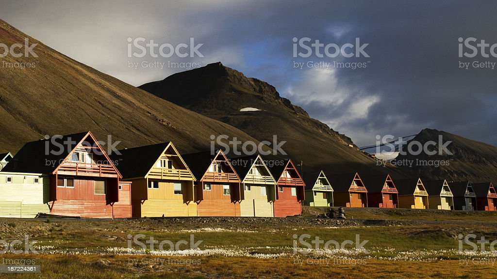 Typical colorfull houses at Longyearbyen stock photo