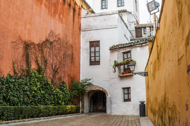 Typical corner at Santa Cruz in Seville Small square in the neighborhood of Santa Cruz, with the walls of the buildings painted in vivid colors (Seville, Spain) santa cruz seville stock pictures, royalty-free photos & images