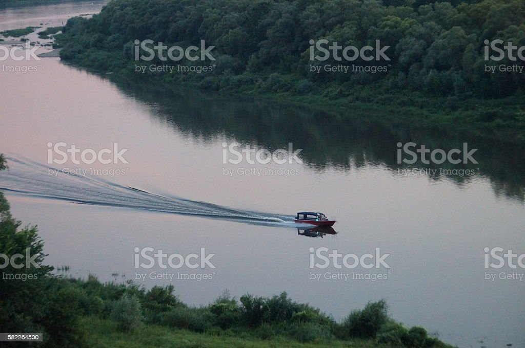 typical corner of Russian nature, Oka River, Polenovo stock photo