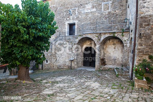 istock Typical courtyard in Groznjan, Istria 1221165976