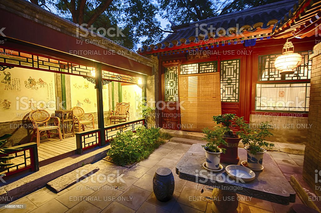 Typical courtyard in the old Hutongs of Beijing. stock photo