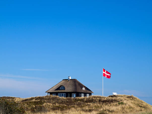 typical danish cottage - denmark stock photos and pictures