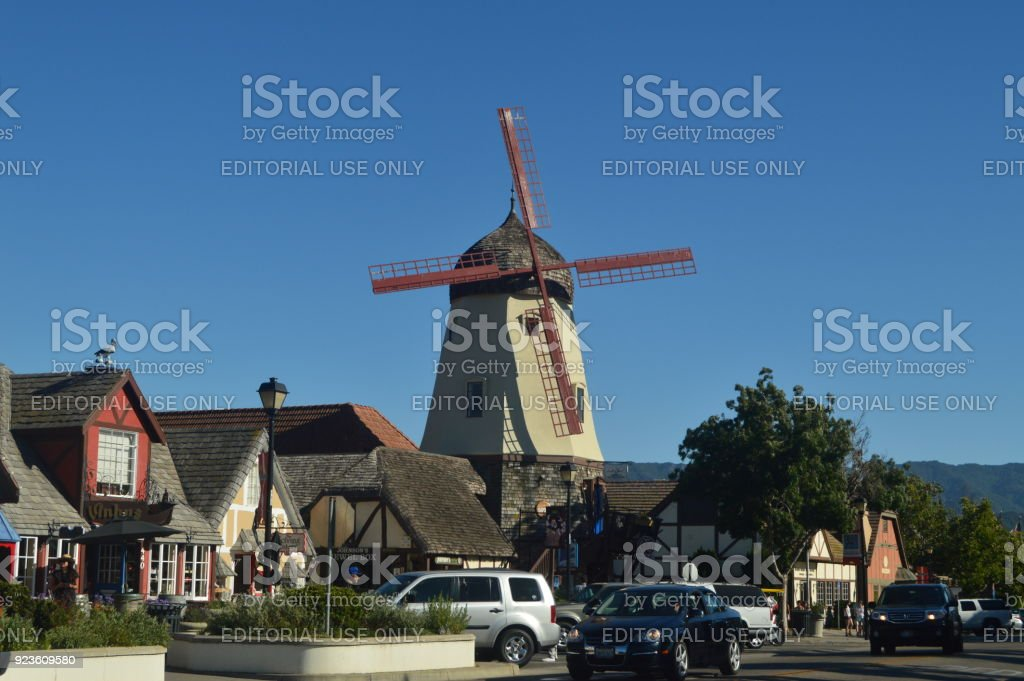 Typical Danish Mill In Solvang: A Picturesque Village Founded By Danes With Their Typical Contructions Of The Historic Denmark. stock photo