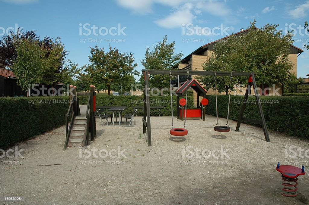 Typical Danish suburban playground stock photo