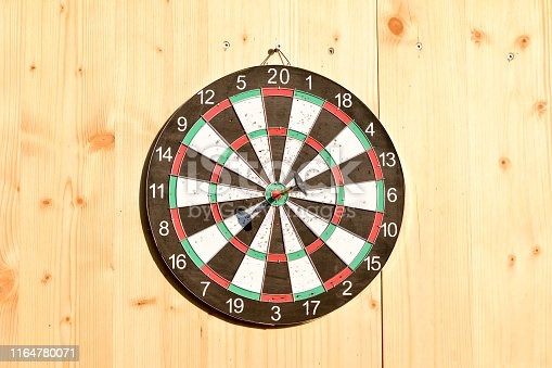 istock Typical darts game with dart in the bulls-eye. 1164780071