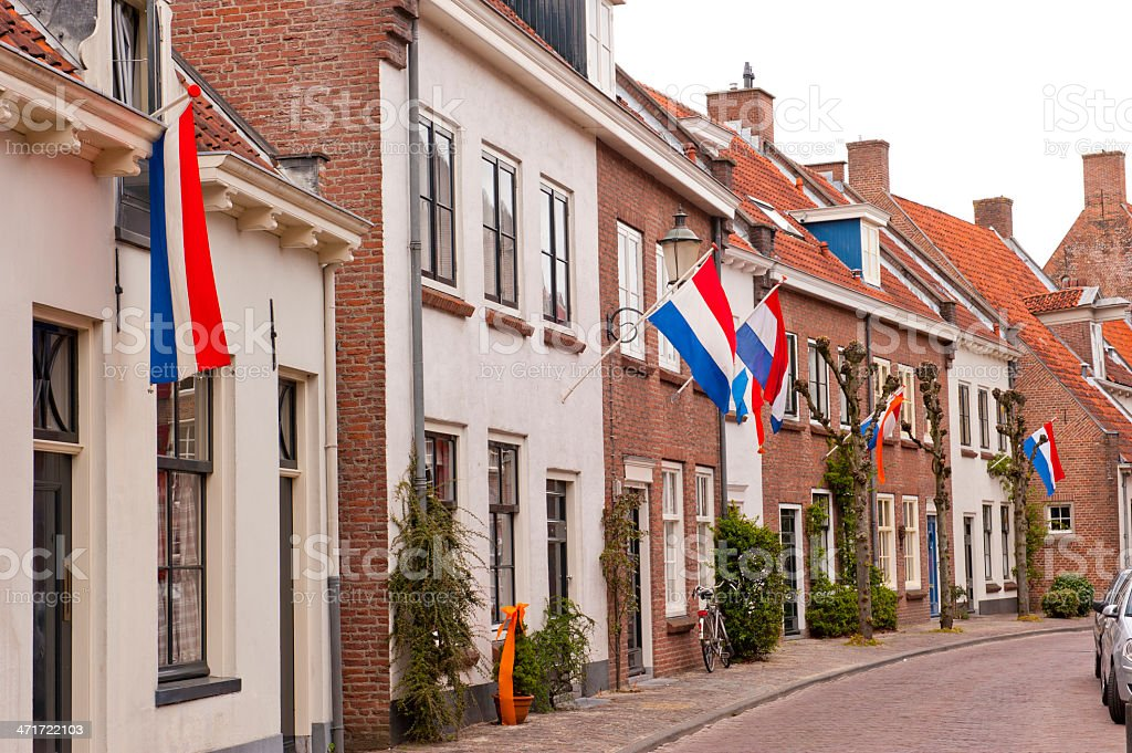 Typical Ducht street at Royal holiday stock photo