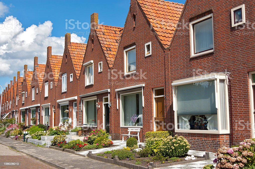 Typical Dutch family houses stock photo