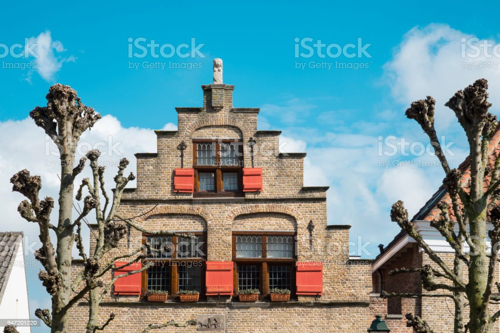 typical Dutch house with stepped gable, stair step, in fortified city Geertruidenberg, The Netherlands stock photo