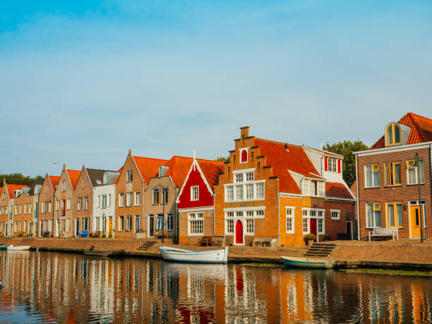 Typical Dutch houses reflections, Edam, Netherlands stock photo