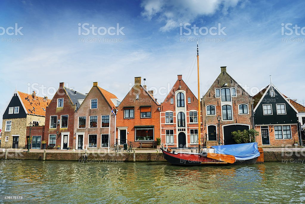Typical Dutch Scene With Water Canal and Traditional Houses stock photo