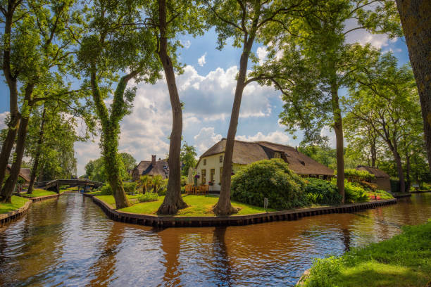 Typical dutch village of Giethoorn in Netherlands stock photo