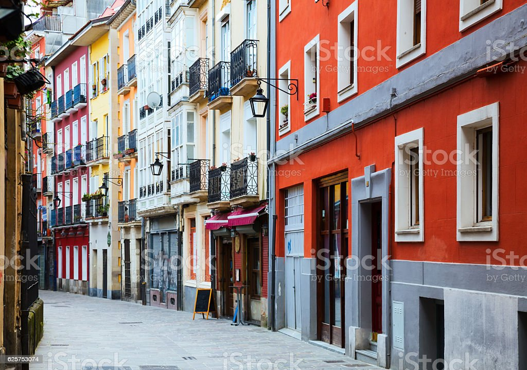 typical dwelling street in historic part of  Vitoria-Gasteiz stock photo