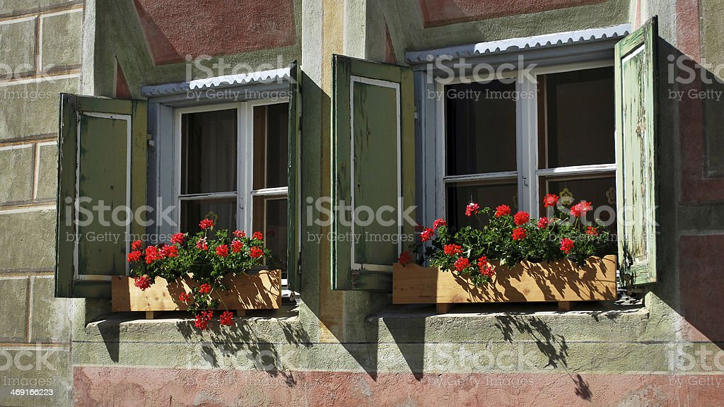 Typical Engadiner house in Guarda (Graubünden, Switzerland) stock photo