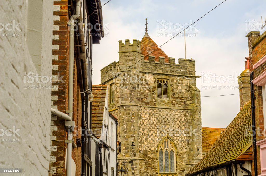 Typical English architecture, residential buildings in a row along the street royalty-free stock photo