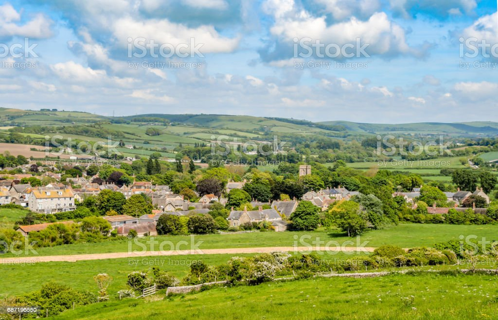Typical English Country Village with Church stock photo