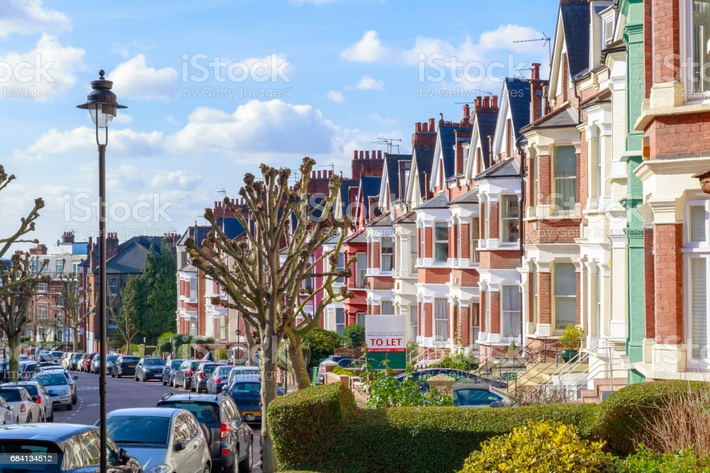 Typical English terraced houses in West Hampstead, London royalty-free stock photo