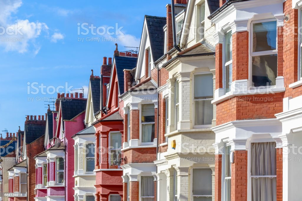 Typical English terraced houses in West Hampstead, London stock photo