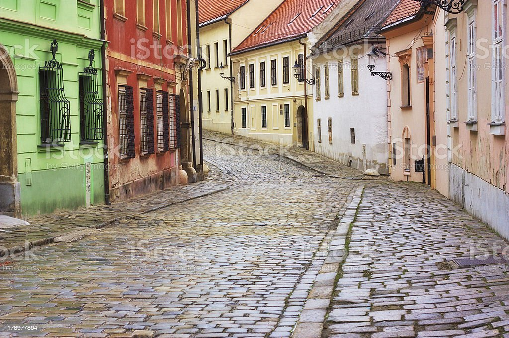 Typical European alley in the old city of Bratislava, Slovakia stock photo