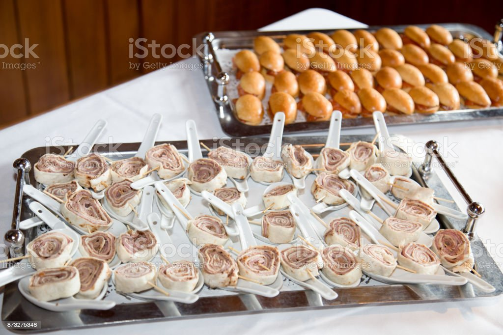 Typical european appetizers in the dinner stock photo