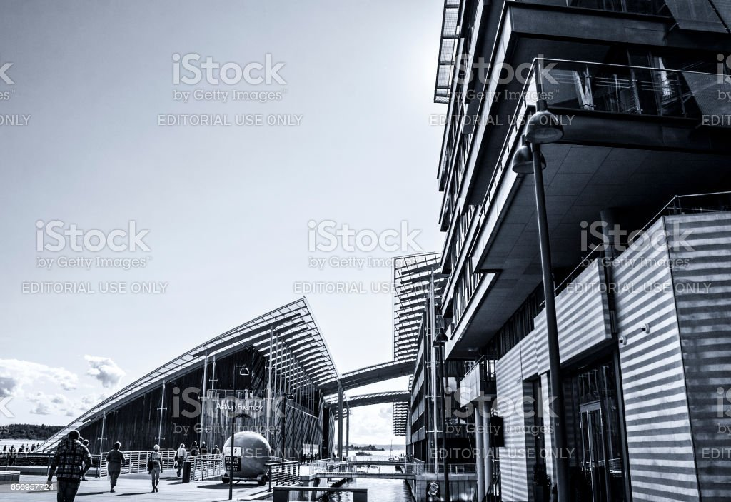 Typical Example Of Scandinavian Architecture. Exterior Building stock photo