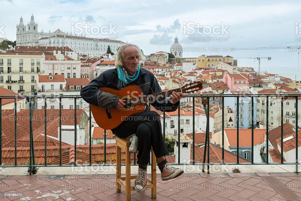Typical Fado Musician in Lisbon stock photo