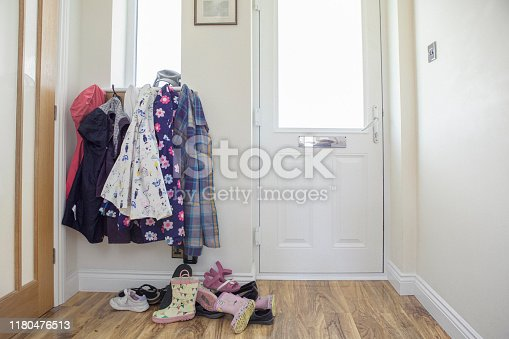A real photo of a typical front door of a family home.