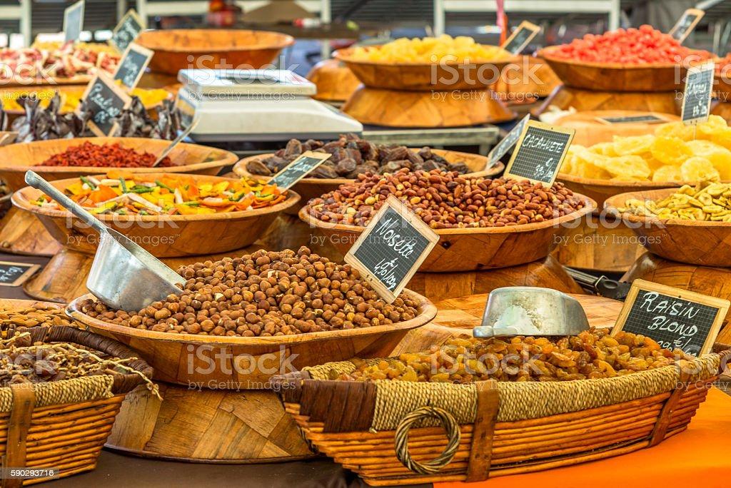 Typical farmers' market in French Ajaccio in Corsica - 2 royaltyfri bildbanksbilder