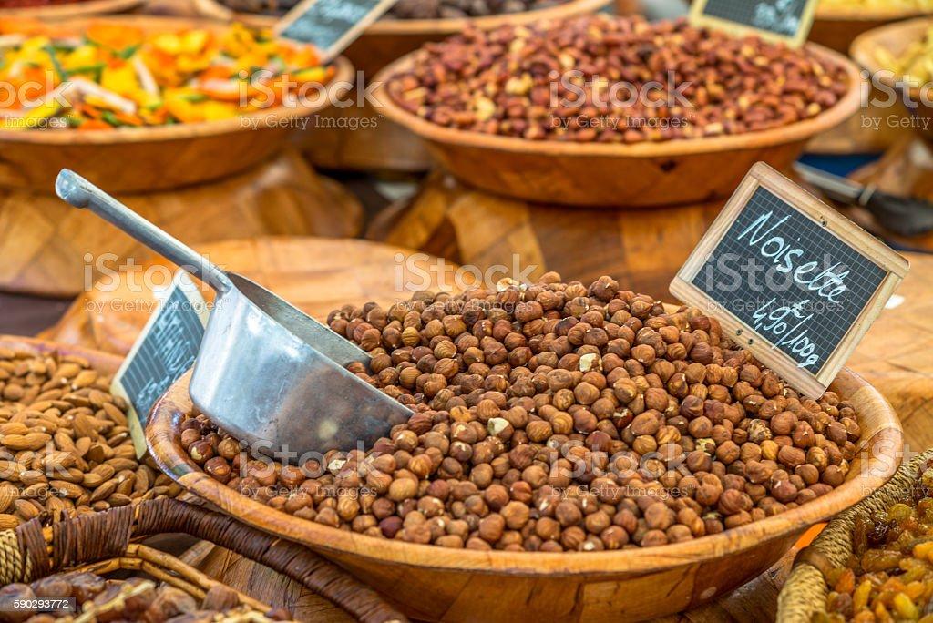 Typical farmers' market in French Ajaccio in Corsica - 3 royaltyfri bildbanksbilder