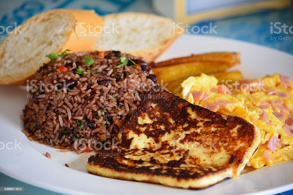 Typical food in Costa Rica , breakfast  Gallo Pinto stock photo