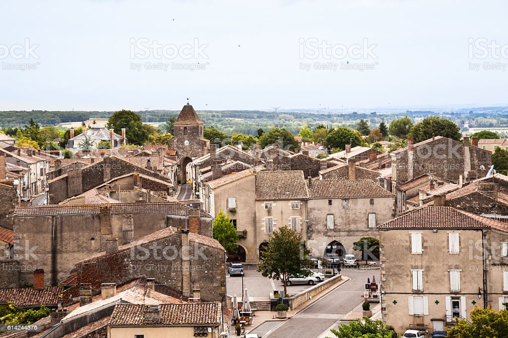 typical french village roads houses and buildings stock photo