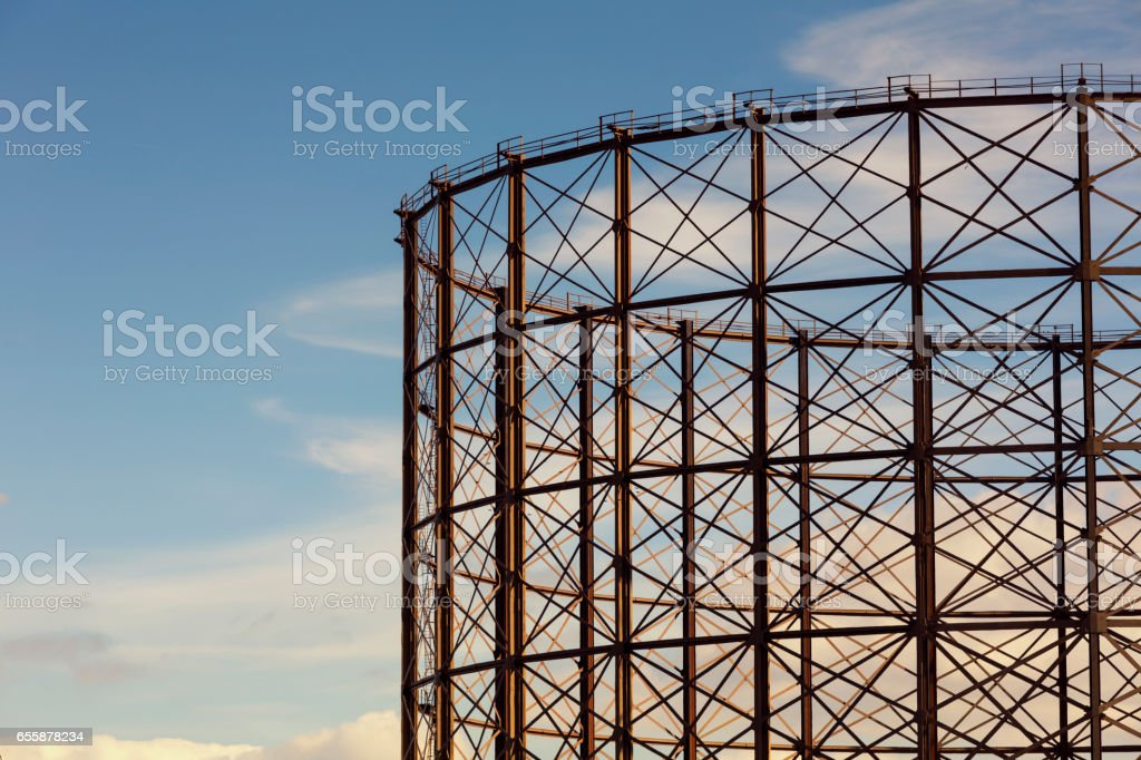 Typical Gas holder in London stock photo