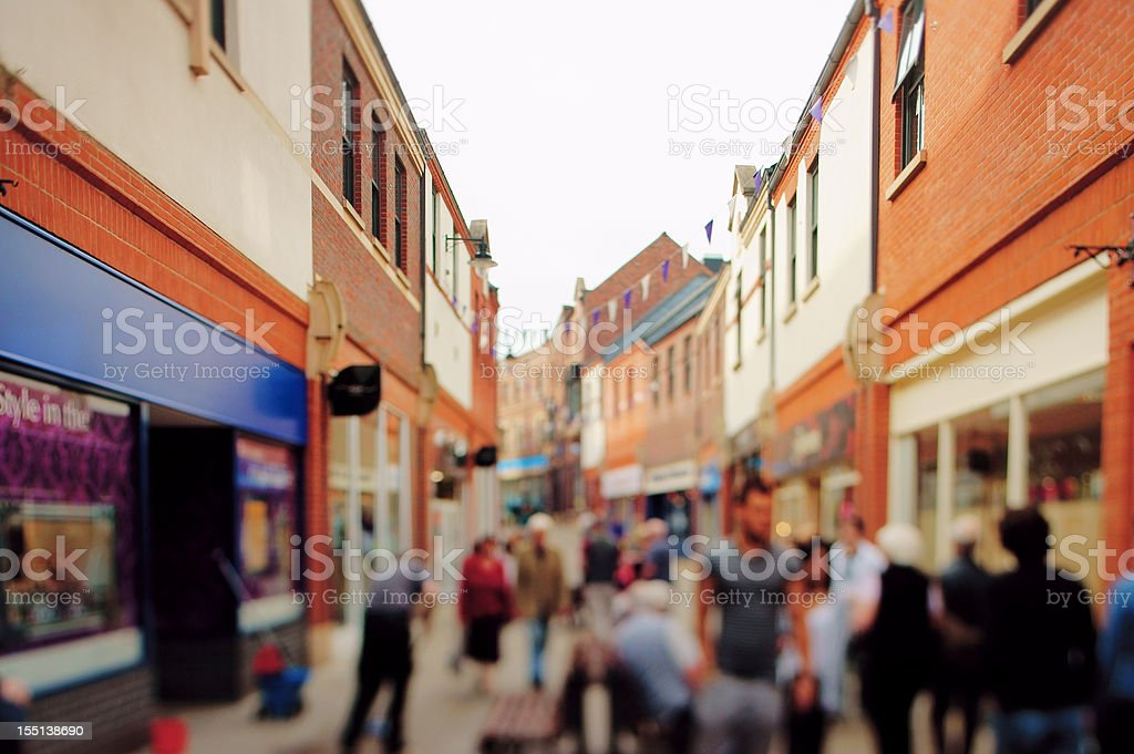 Typical generic British High Street with blurred and unrecognizable details stock photo