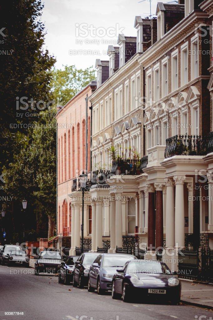 Typical Georgian terrace houses in the Kensington area in London (UK). stock photo
