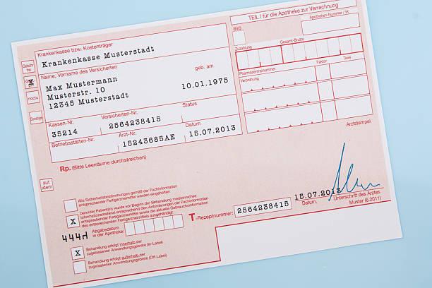 Typical german medical prescription form stock photo