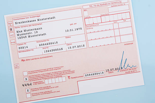 Typical german medical prescription form stock photo