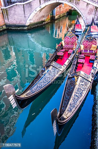 typical famous gondolas in venice - italy