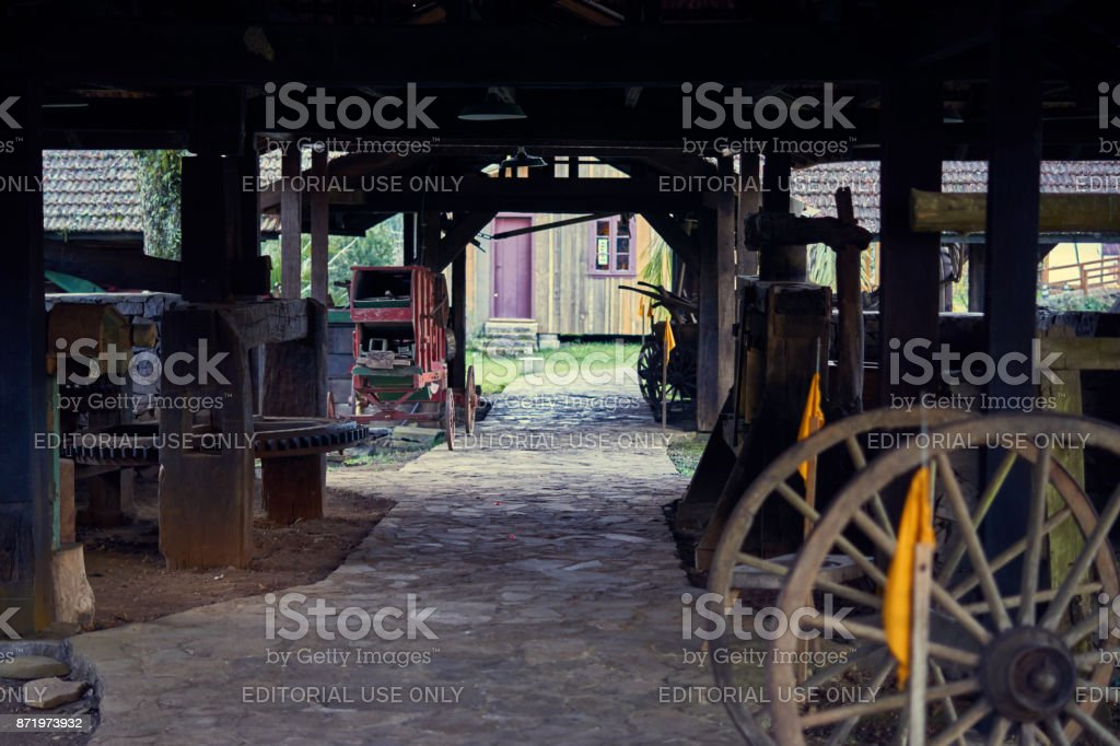 Typical granary from the south of Brazil. Where the tools of agricultural production are maintained. Photo taken at Caracol Castle. stock photo