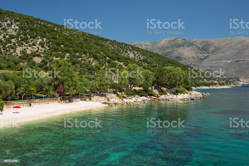 Typical Greece beach at the Island Kefalonia in Greece. stock photo