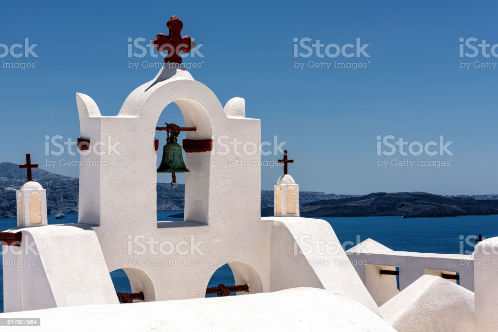 Typical Greek bell tower steeple in Santorini island stock photo