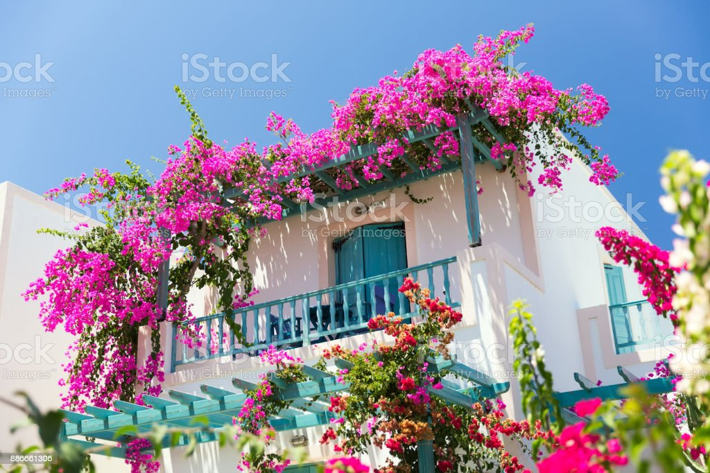 typical greek house stock photo