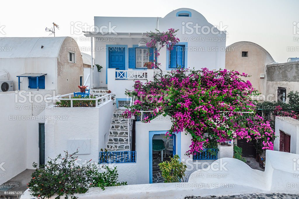Typical Greek island architecture on Santorini Island, Greece stock photo