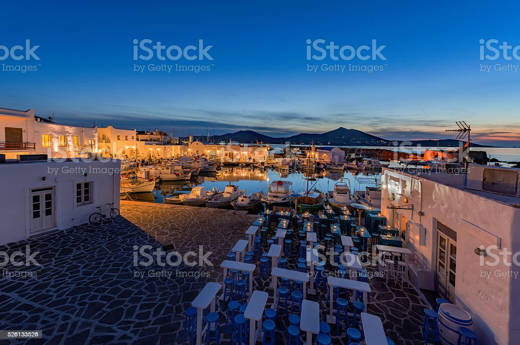 Typical Greek islands' village of Naousa, Paros island, Cyclades stock photo