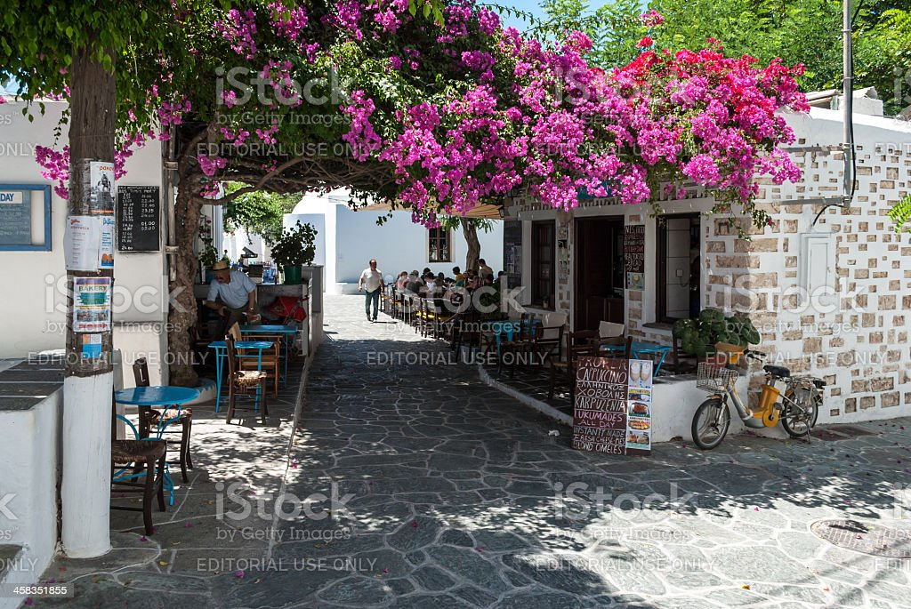 Typical greek square in Folegandros stock photo