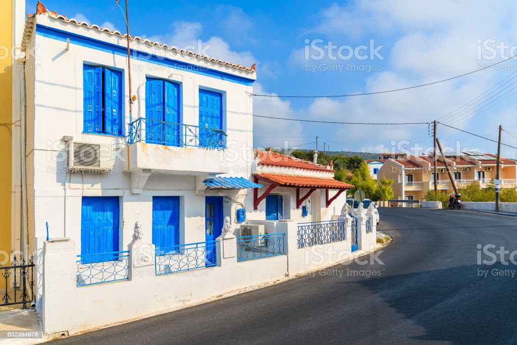 Typical Greek Style Houses On Street Of Pythagorion Town Samos Island Greece Stock Photo Download Image Now Istock